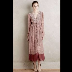 Anthropologie Rose Ivory Paisley Embroidered Dress